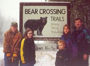 Livingston family at Bear Crossing Entrance Sign